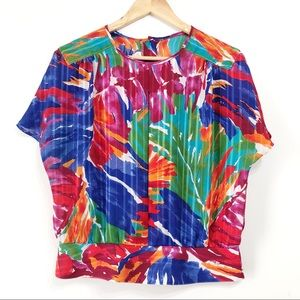 Vintage Shapely Brand Bright Floral Blouse Size 10